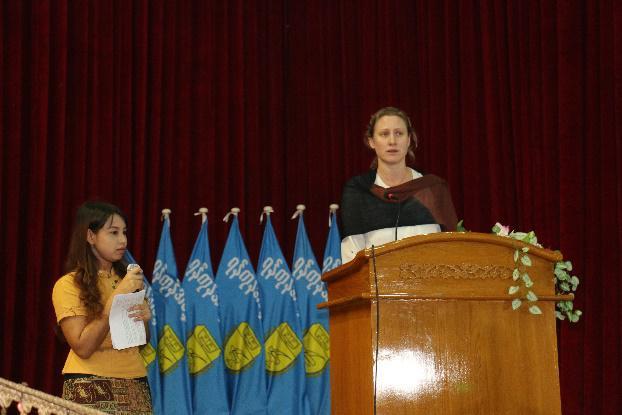 Alexandra Robinson, UNFPA, talks at the mock trial, Tarwa University, Yangon.