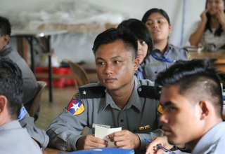 Police officers in Lashio receive training on gender-based violence.