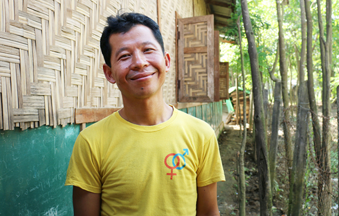 Aung Htwe is part of a growing group of men who stand up against domestic violence in camps for displaced people in Myanmar