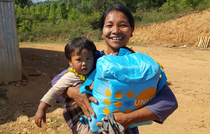 Mrs Ngechai, of Peite village, Matupi Township, one of many women who received a UNFPA Dignity kit.