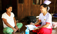 """Midwife Phyu Phyu Win walks from village to village. """"I frequently visit 10 villages so that pregnant women who work all day long can receive regular check-ups and antenatal care without travelling to the clinic."""