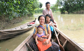 Phoo Ngun with her family in 2016: In the wake of last year's floods, she gave birth safely to a baby daughter.