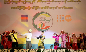 Youth performance during the stock-taking ceremony for the 2014 Myanmar Population and Housing Census.
